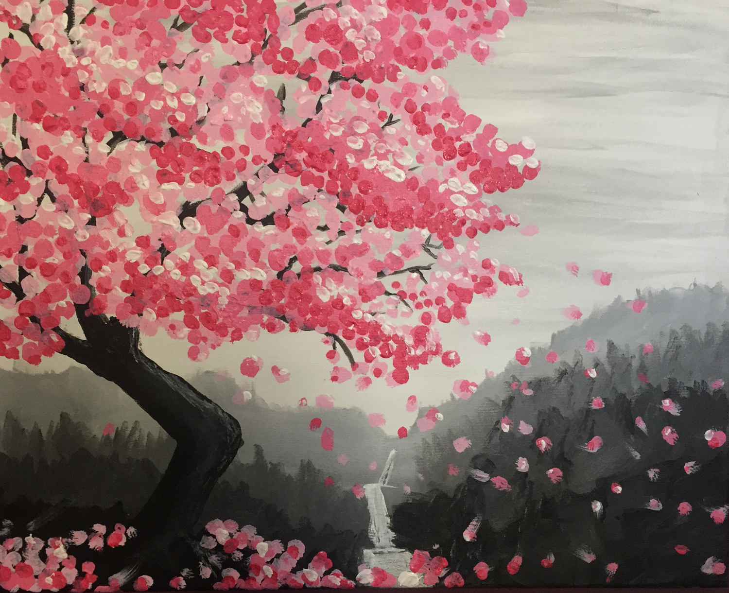 Hashtag art studio wine design painting cherry blossom for Cherry blossom mural works